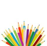 Varicoloured pencils on a white background Stock Photos