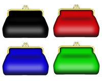 Varicoloured purses. Illustration of varicoloured purses for a money on a white background Stock Images