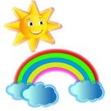 Varicoloured Regenbogen mit Wolken und gelber fröhlicher Sonne vektor abbildung
