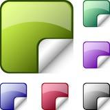 Varicoloured stickers. (green, blue, violet, black, red Stock Images
