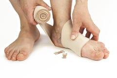 Varicose veins and bandage. Isolated on white background Stock Photography