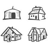 Varie case tradizionali come icone Illustrazione Vettoriale