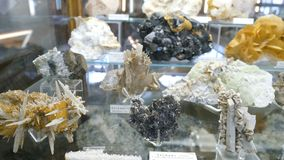 Varie collezioni di pietre minerali alla mostra nel museo Museo dei minerali Fotografie Stock Libere da Diritti