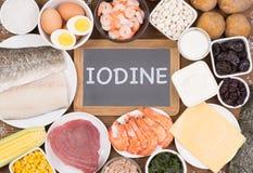 Varie fonti sane dell'alimento di iodio fotografia stock