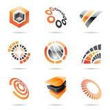 Varie icone astratte arancioni, insieme 7 Immagine Stock Libera da Diritti