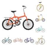 Varie icone del fumetto delle biciclette nella raccolta dell'insieme per progettazione Il tipo di illustrazione di web delle azio Immagini Stock Libere da Diritti