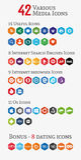 Varie icone del poligono di media (metta 1) Fotografia Stock