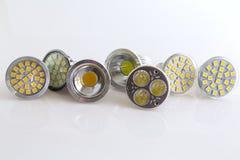 Varie lampade fredde e calde raffreddate di bianco LED Immagine Stock