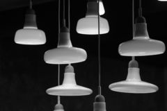 Varie lampade illuminate fotografia stock libera da diritti