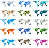 Varie manipolazioni della mappa di mondo Fotografie Stock