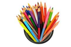 Varie matite di colore isolate sul bianco Fotografie Stock