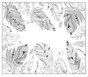 Varie piume stilizzate per la pagina di coloritura Fotografia Stock Libera da Diritti