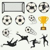 Varie pose dei calciatori in siluette illustrazione di stock