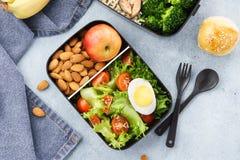 Varie scatole di pranzo con alimento e gli ingredienti sani fotografie stock libere da diritti