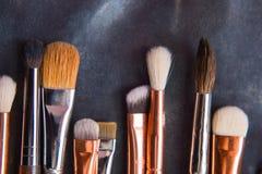 Varie spazzole di trucco Fotografie Stock Libere da Diritti