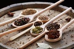 Varie spezie aromatiche Colourful per la cottura sul bordo di legno vecchio, primo piano, disposizione del piano, fuoco selettivo Immagini Stock