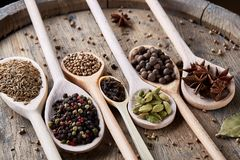 Varie spezie aromatiche Colourful per la cottura sul bordo di legno vecchio, primo piano, disposizione del piano, fuoco selettivo Fotografia Stock Libera da Diritti