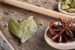 Varie spezie aromatiche Colourful per la cottura sul bordo di legno vecchio, primo piano, disposizione del piano, fuoco selettivo Immagine Stock