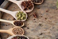 Varie spezie aromatiche Colourful per la cottura sul bordo di legno vecchio, primo piano, disposizione del piano, profondità di c Fotografia Stock Libera da Diritti