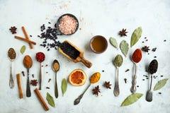 Varie spezie ed erbe indiane variopinte in cucchiai d'argento su fondo bianco Immagini Stock Libere da Diritti