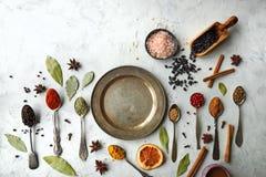 Varie spezie ed erbe indiane variopinte in cucchiai d'argento su fondo bianco Immagine Stock