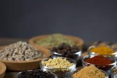 Varie spezie fresche in ciotole, Fotografia Stock