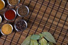 Varie spezie fresche in ciotole, fondo di legno, vista superiore Immagini Stock