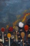 Varie spezie indiane in cucchiai e ciotole e dadi di legno del metallo sulla tavola di pietra scura Spezie variopinte, vista supe Immagine Stock Libera da Diritti