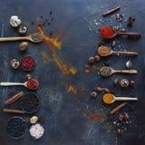 Varie spezie indiane in cucchiai e ciotole e dadi di legno del metallo sulla tavola di pietra scura Spezie variopinte, vista supe fotografie stock
