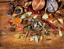 Varie spezie, vista superiore Fotografia Stock