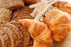 Varied bread display royalty free stock photos