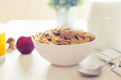 A varied breakfast in the morning in colorized vintage Stock Image