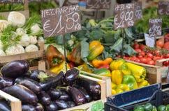 Fresh produce at an Italian farmer`s market stock images