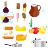 Varied food and drink on white background Royalty Free Stock Image