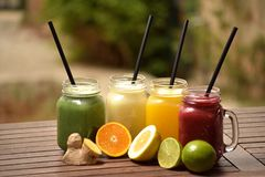 Varied fruit juices royalty free stock photos