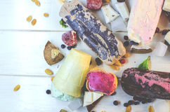 Varied ice cream with fruits and berries in chocolate Royalty Free Stock Photo