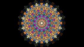 Varied live mandala on black background. Circle mandala with transition effect, a tool for spiritual exercises stock illustration