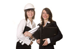 Varied occupations. Businesswoman and architect Royalty Free Stock Photography