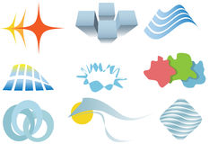 Varied set of colorful design elements or icons stock illustration
