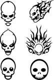 Varied Skull Design Set. Isolated illustration of skulls icons on white background Royalty Free Stock Images