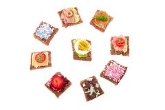 Varied sweet and savory sandwiches Royalty Free Stock Photography