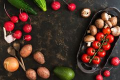 Varied vegetables and mushrooms on a rustic ceramic dish. Dark brown background, top view, empty center for text. Varied vegetables and mushrooms on a rustic Royalty Free Stock Photo