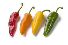 Variedad colorida fresca de pimientas acentuadas dulces Fotos de archivo