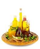 Variedad de aceites de una oliva foto de archivo