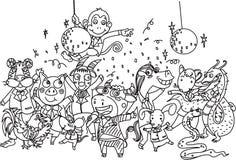 Variedad de animales stock de ilustración