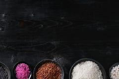 Variedad de arroz colorido Fotografía de archivo libre de regalías