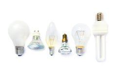 Variedad de bombillas Imágenes de archivo libres de regalías