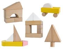 Variedad de estructura de los símbolos del negocio de bloques de madera del juguete Fotografía de archivo libre de regalías