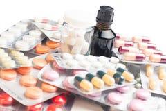 Variedad de fondo de las medicaciones Fotos de archivo libres de regalías