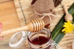 Variedad de la miel con el panal y la miel en un tarro con cera de abejas Imagen de archivo
